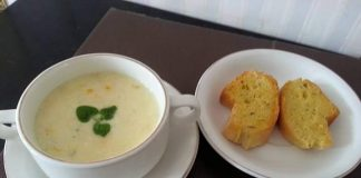Chicken And Sweet Corn Cream Soup with French Baguette by Susianne Flo S.