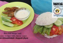 Rice Fish Burger and Potato Wedges with Cheese Sauce By Nurani Attaukhidah' Azyyati (zya)