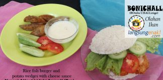 Rice Fish Burger and Potato Wedges with Cheese Sauce By Nurani Attaukhidah' Azyyati (zya)