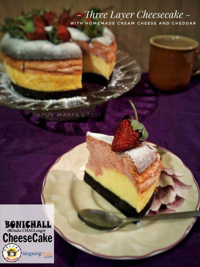 Three Layer Cheesecake with Homemade Cream Cheese and Cheddar by Raafi Wulandari