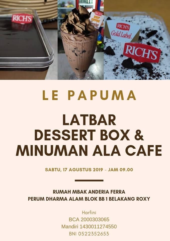 LatBar Dessert Box dan Minuman Ala Cafe LE PAPUMA