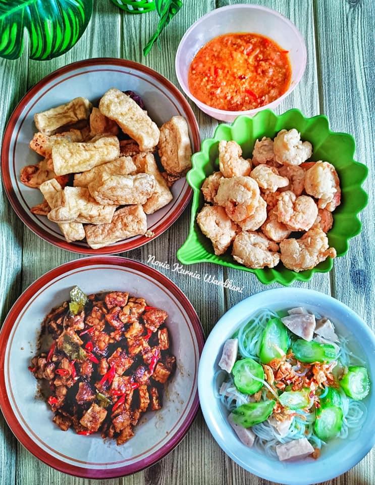 Resep Udang Goreng Tepung, SAYUR BENING GAMBAS BAKSO BIHUN dan OREK TEMPE