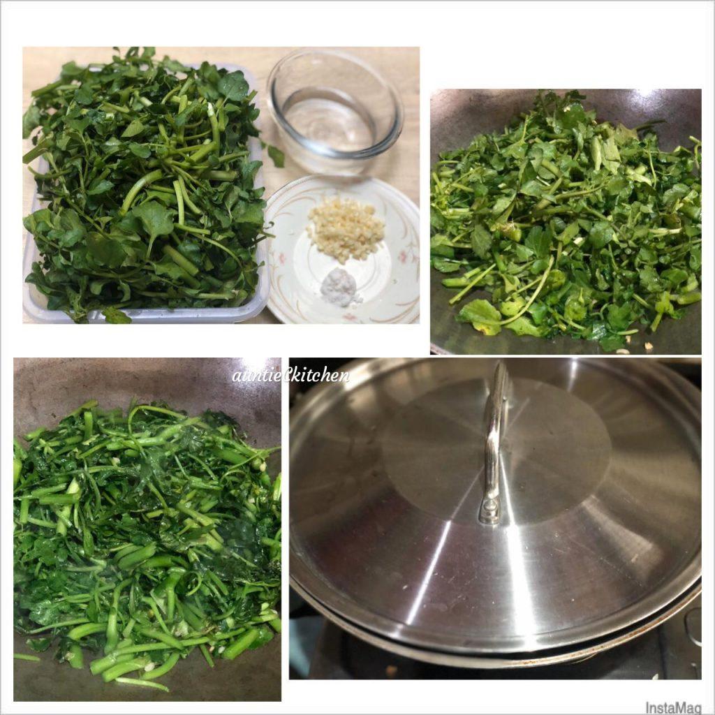 cara membuat Edisi masakan harian Tumis Selada Air by AuntieC AuntieC