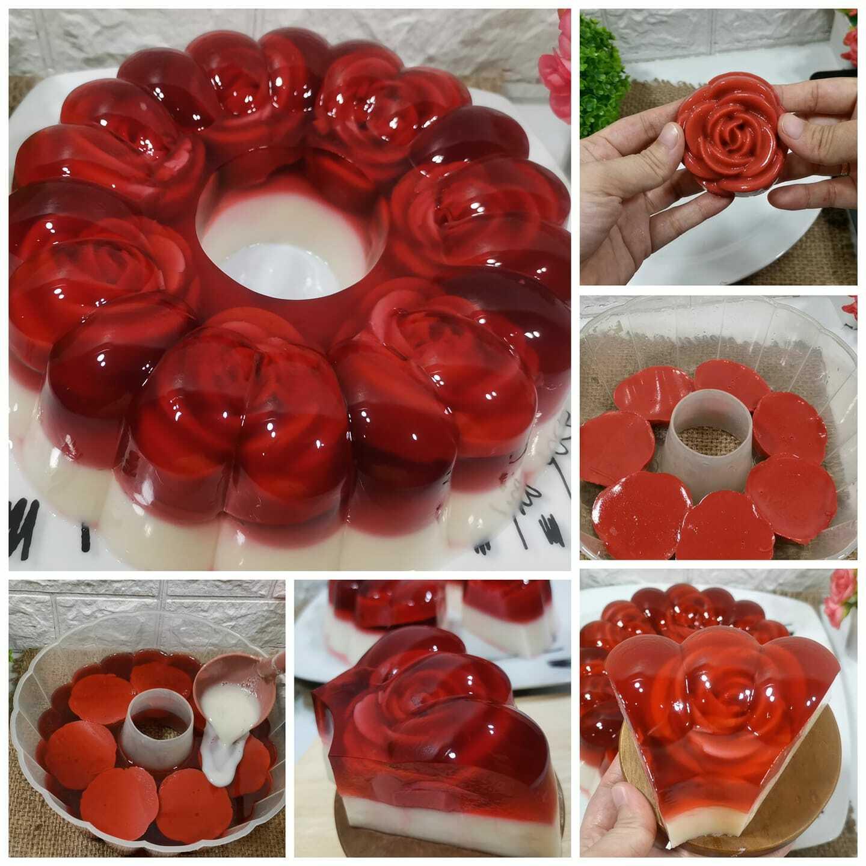resep membuat puding mawar kaca rasa redvelvet by Melinda